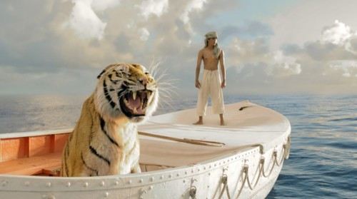 Pi e Richard Parker no bote