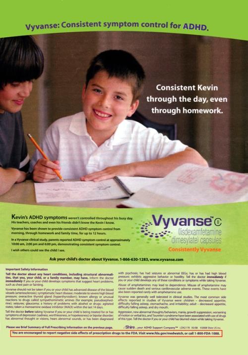 Outro panfleto do Laboratório Shire sobre o Vyvanse