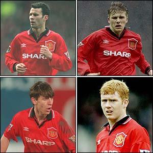Ryan Giggs (acima à esq.), David Beckham (acima à dir.), Gary Neville (abaixo à esq.), Paul Scholes (abaixo à dir.)
