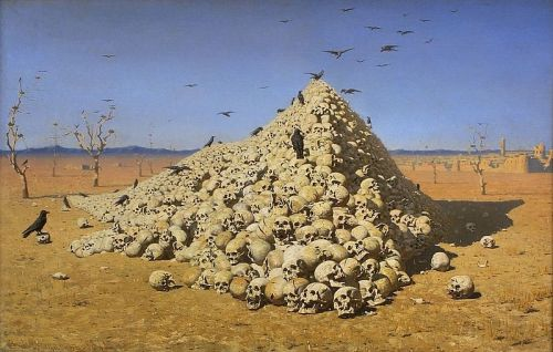 """""""A Apoteose da Guerra"""" de Vasily Vasilyevich Vereshchagin (1871)"""