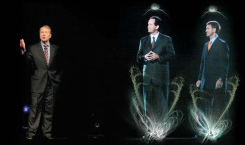 Reunião virtual com hologramas