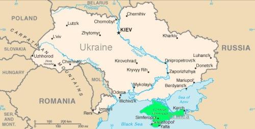 Ucrânia com a península da Crimeia em verde