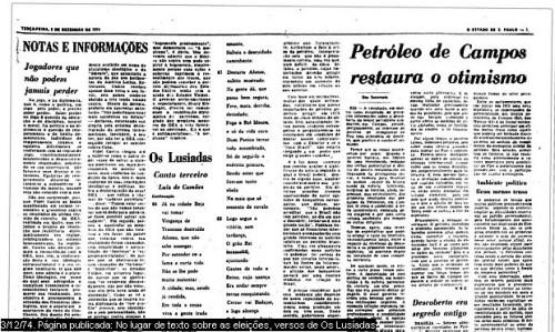 """Versos de """"Os Lusíadas"""" no Estadão"""