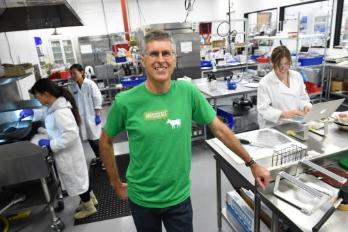 Patrick Brown in Impossible Foods' laboratory [Source: Wall Street Journal]