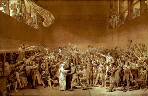Desenho de Jacques-Louis David sobre um episódio da Revolução Francesa