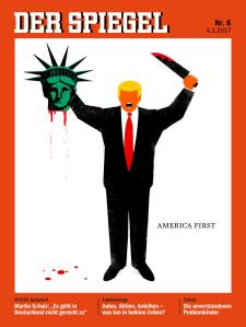 U. S. President Donald Trump is depicted beheading the Statue of Liberty in this illustration on the cover of the latest issue of German news magazine Der Spiegel